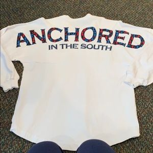 Palmetto moon white anchored in the south shirt